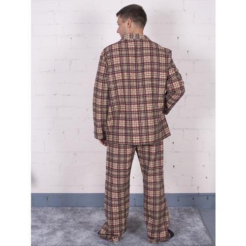 Пижама мужская фланель клетка 52-54 цвет коричневый фото 3