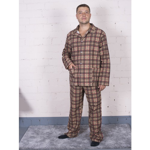 Пижама мужская фланель клетка 56-58 цвет коричневый фото 1