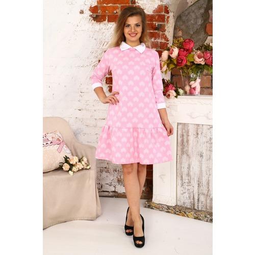 Платье Валерия футер сердечки на розовом Д438 р 56 фото 1