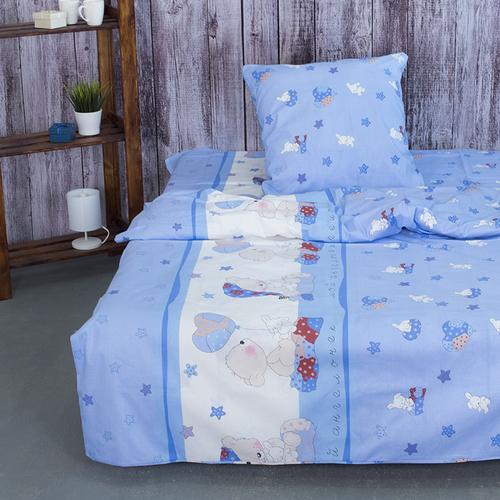 Детское постельное белье из поплина 1.5 сп 1636/2 Мой ангелочек голубой фото 1