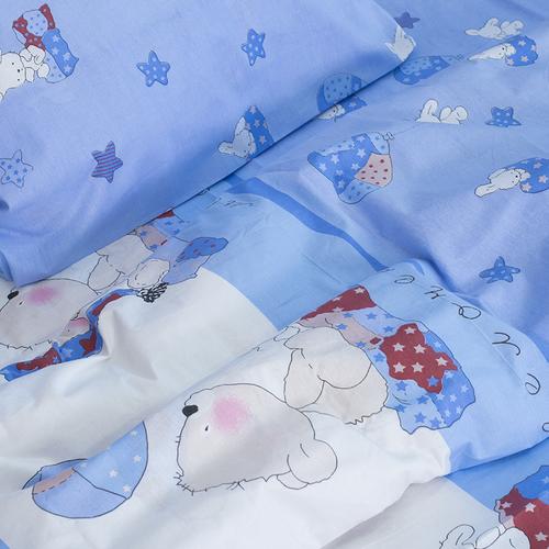 Детское постельное белье из поплина 1.5 сп 1636/2 Мой ангелочек голубой фото 3
