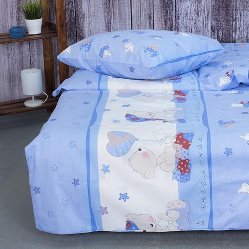 Детское постельное белье из поплина 1.5 сп 1636/2 Мой ангелочек голубой фото 4