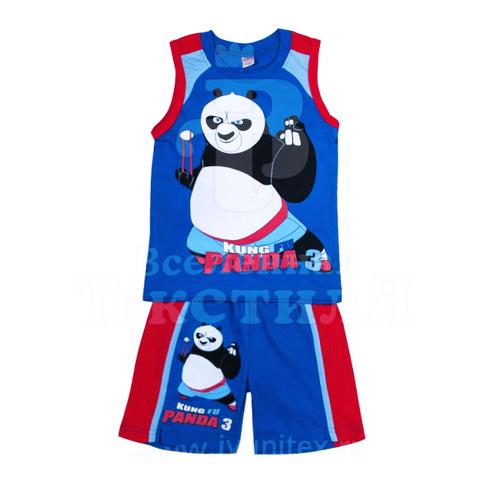 Комплект детский майка + шорты Кунг фу Панда цвет синий 4 года фото 1