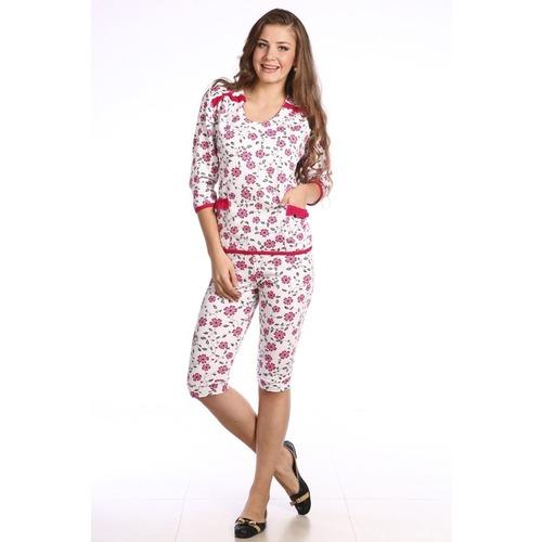 Пижама Рюша Бриджи, Без Кнопок Розовая Б18 р 52 фото 1