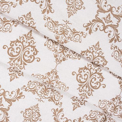 Ткань на отрез бязь плательная б/з 150 см 8105 Дамаск цвет кофе фото 1