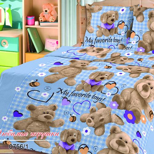 Бязь 120 гр/м2 150 см 0756/1 Любимые игрушки голубой фото 1
