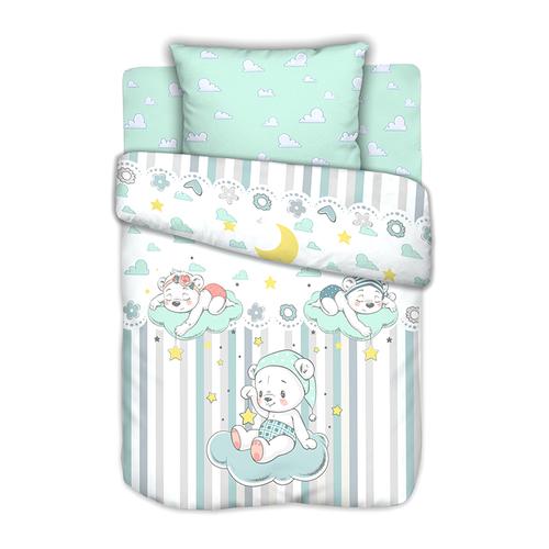 Постельное белье в детскую кроватку с простыней на резинке Сонные мишки на полянке сатин фото 1
