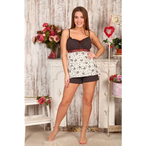 Пижама Царица Шорты Горох На Коричневом+Сердечки На Молочном Б16 р 46 фото 1