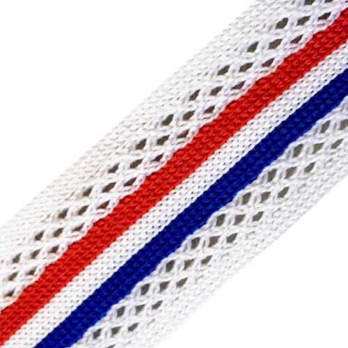Лампасы №38 белые синяя красная полосы с перфорацией 2,5см уп 10 м фото 1