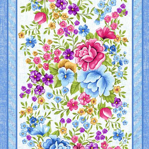 Ткань на отрез вафельное полотно 50 см 5618/1 Цветочная вышивка фото 1