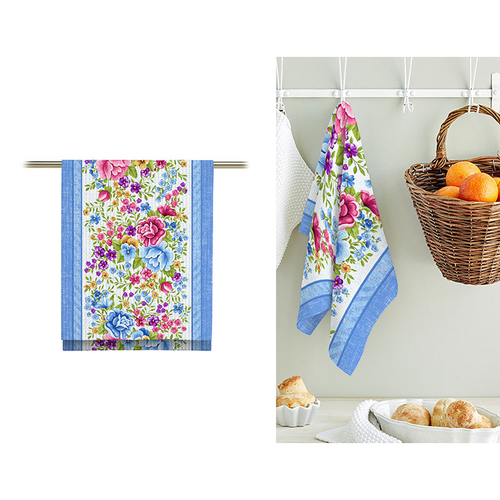 Ткань на отрез вафельное полотно 50 см 5618/1 Цветочная вышивка фото 2