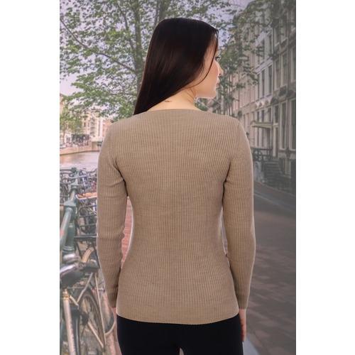 Джемпер 6503 цвет светло-коричневый р 42-44 фото 2