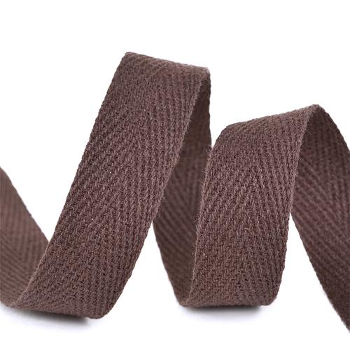 Лента киперная 10 мм хлопок 2.5 гр/см цвет F302 коричневый фото 1