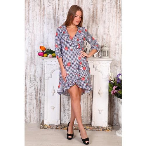 Платье на запах Антонина розы на клетке Д490 р 42 фото 1