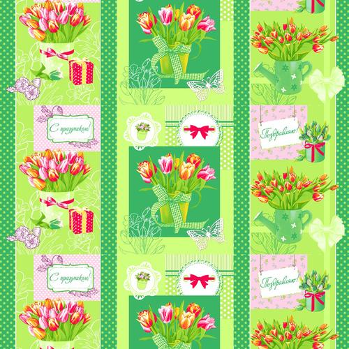 Вафельное полотно набивное 150 см 449/2 Тюльпаны цвет зелёный фото 1