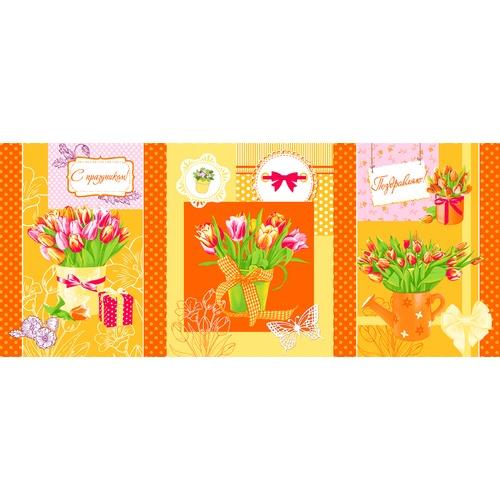 Вафельное полотно набивное 150 см 449/3 Тюльпаны цвет оранжевый фото 2