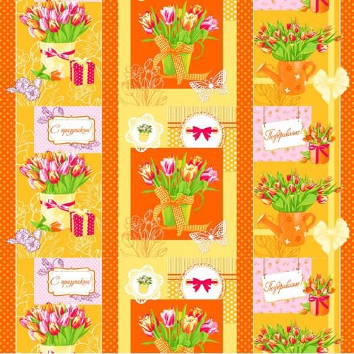 Вафельное полотно набивное 150 см 449/3 Тюльпаны цвет оранжевый фото 1