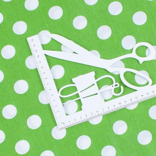 Ткань на отрез бязь плательная 150 см 1422/7 зеленый фон белый горох фото 2