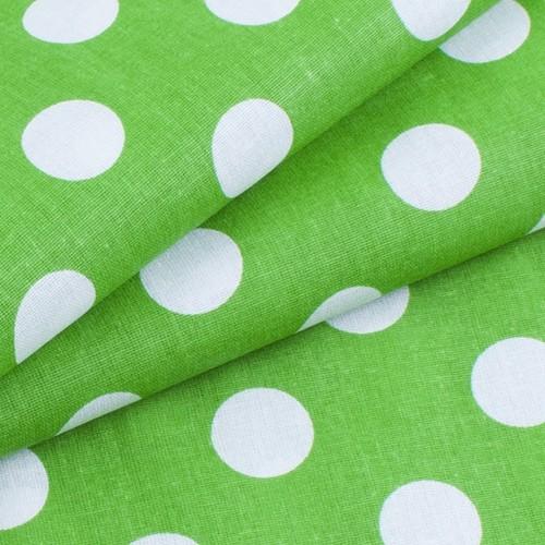 Ткань на отрез бязь плательная 150 см 1422/7 зеленый фон белый горох фото 3