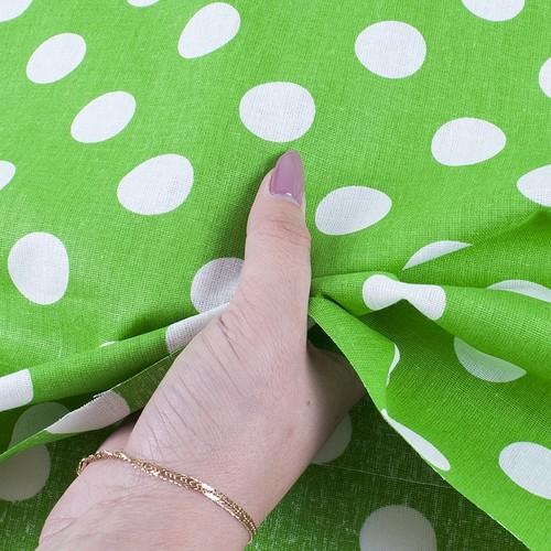 Ткань на отрез бязь плательная 150 см 1422/7 зеленый фон белый горох фото 4