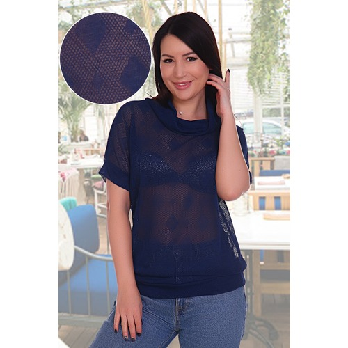 Блузка Бригантина 11209 синяя р 52 фото 1