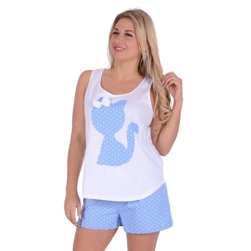 Женская пижама ЖП 011 белый + горох на голубом р 54 фото 1