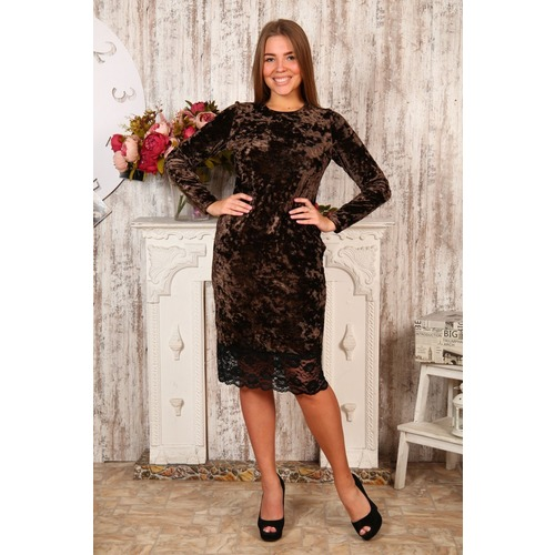 Платье Каролина коричневое Д476 р 56 фото 1