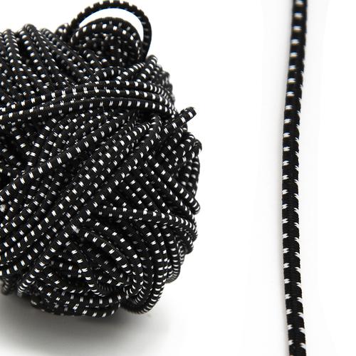 Резинка шляпная 0,25см черная с белыми вкраплениями 1 метр фото 1