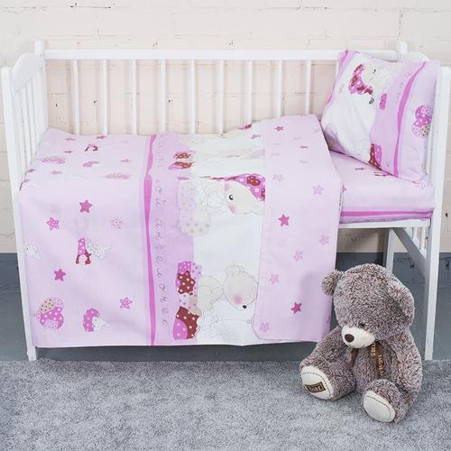 Постельное белье в детскую кроватку из поплина 1636/4 Мой ангелочек розовый с простыней без резинки фото 3