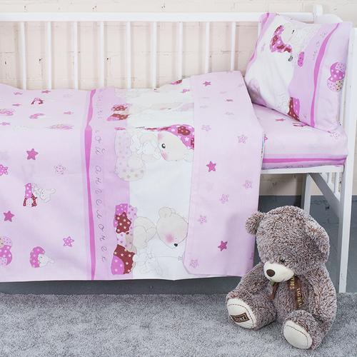 Постельное белье в детскую кроватку из поплина 1636/4 Мой ангелочек розовый с простыней без резинки фото 1