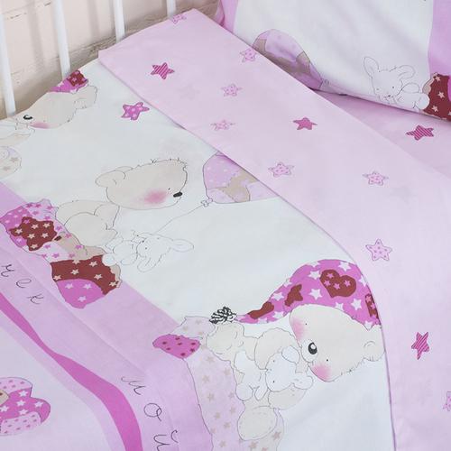 Постельное белье в детскую кроватку из поплина 1636/4 Мой ангелочек розовый с простыней без резинки фото 4
