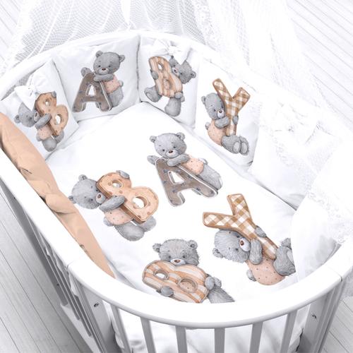 Ткань на отрез перкаль детский 112/150 см 19 Мишка с буквами фото 1