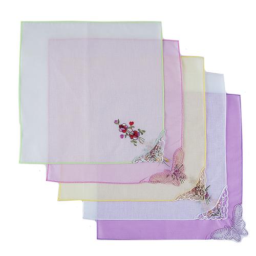 Платки носовые женские с вышивкой 28/28 см расцветки в ассортименте 10 шт фото 1