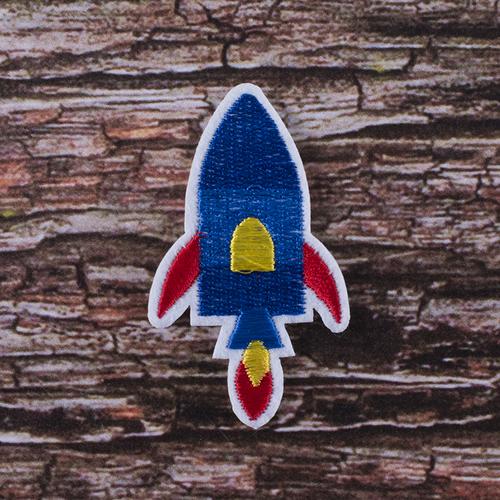 Термоаппликация ТАВ В85 ракета синяя 4*7см фото 1