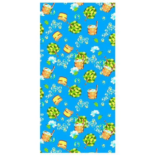 Полотенце вафельное банное 150/75 см 376/1 Баня цвет синий фото 1