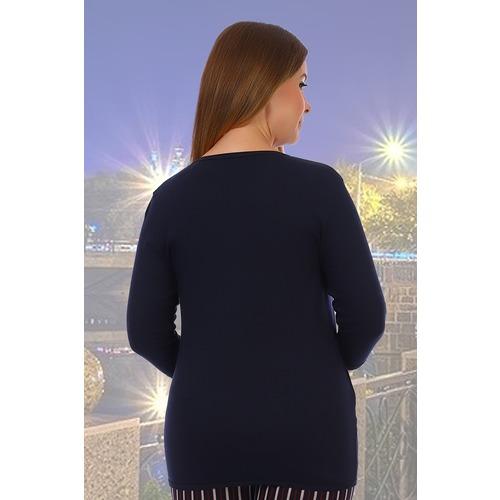 Блузка Николина 5182 синяя р 52 фото 2