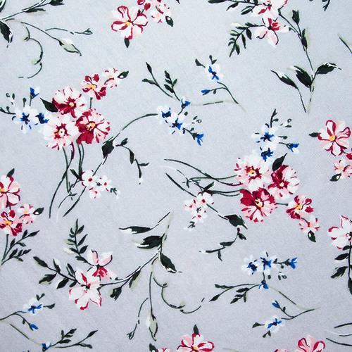 Ткань на отрез кулирка R11057-V5 Цветы на сером фото 1