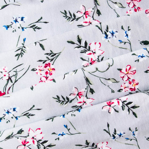 Ткань на отрез кулирка R11057-V5 Цветы на сером фото 3