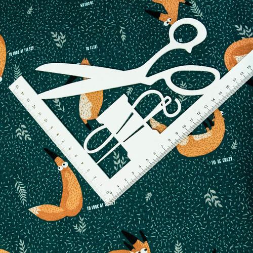 Ткань на отрез кулирка R6146-V1 Лисы цвет зеленый фото 3