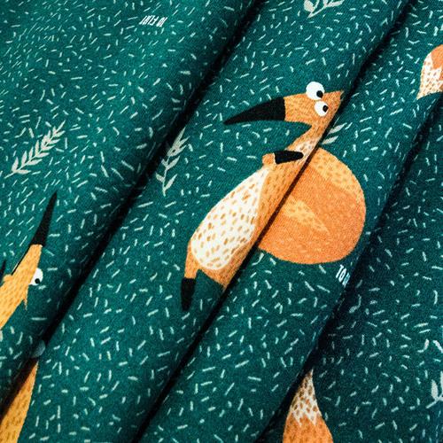 Ткань на отрез кулирка R6146-V1 Лисы цвет зеленый фото 2