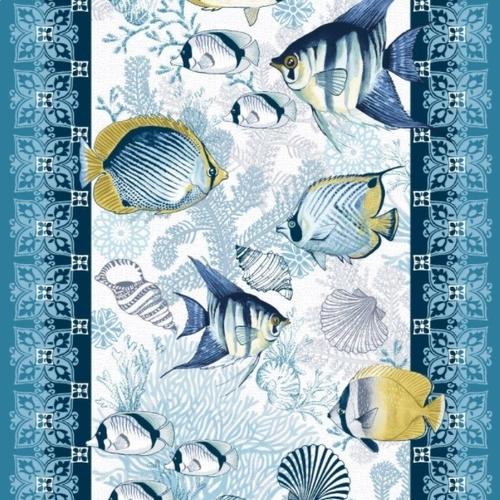 Ткань на отрез вафельное полотно 50 см 5619/1 Рыбки фото 1