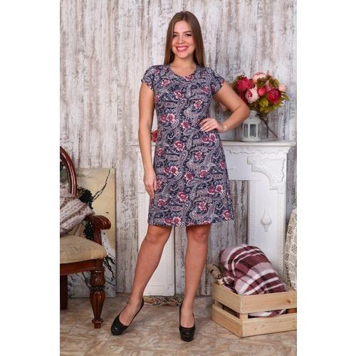 Платье Марго вискоза розов.цветы+огурцы Д405 р 46 фото 1