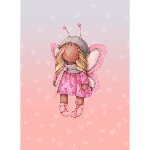 Ткань на отрез перкаль детский 112/150 см 05 Миланья с крыльями цвет розовый фото 1