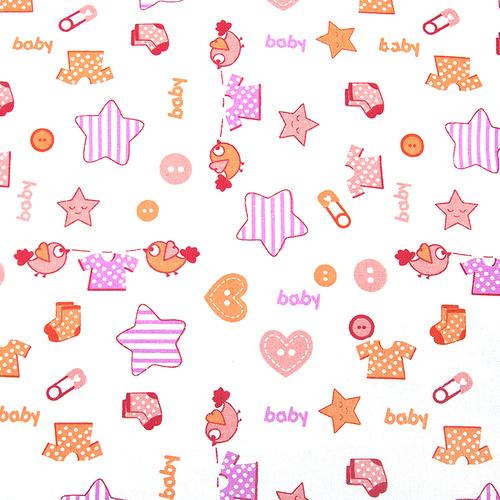 Ткань на отрез фланель белоземельная 75 см 7200/2 Малышок цвет розовый фото 1