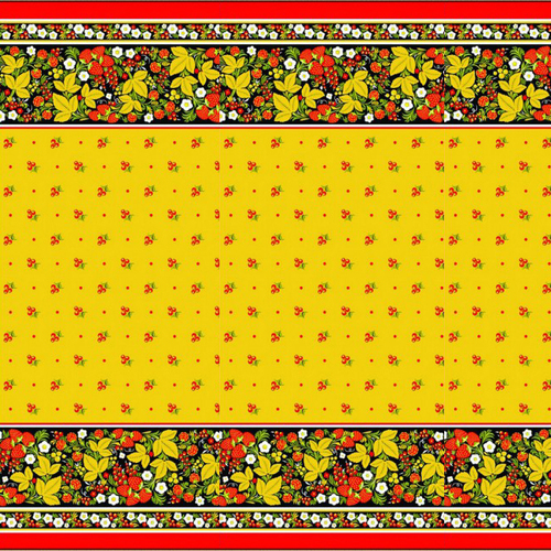 Вафельное полотно набивное 150 см 195/3 Хохлома цвет жёлтый фото 1