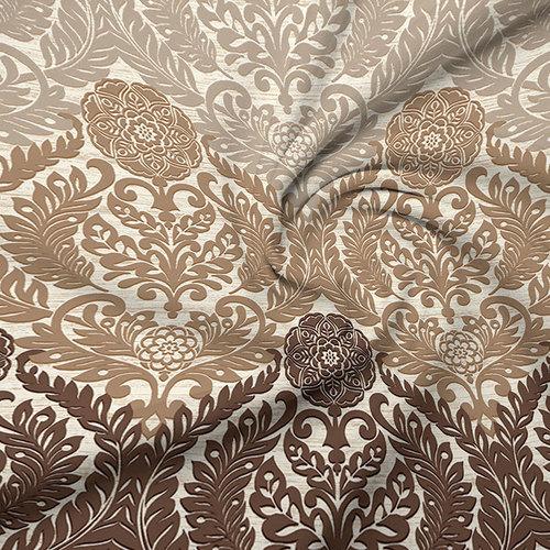 Ткань на отрез бязь Премиум 220 см 6280/1 Дамаск цвет коричневый фото 2