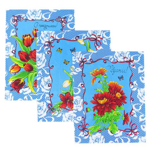 Набор вафельных полотенец 3 шт 50/60 см 549/1 Март цвет синий фото 1