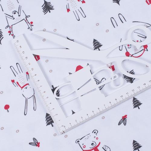 Ткань на отрез интерлок Новогодний лес 3421-20 цвет белый фото 4