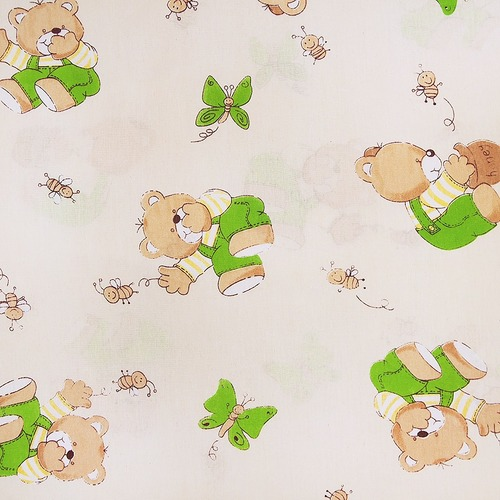 Ткань на отрез бязь ГОСТ детская 150 см 1332/6 За медом цвет бежевый фото 1