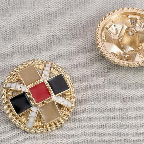 Пуговица металл ПМ79 25мм золото цветная эмаль уп 12 шт фото 1